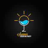 Summer cocktail glass design background Royalty Free Stock Photo