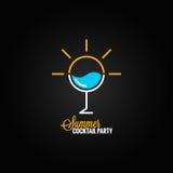 Summer cocktail glass design background vector illustration