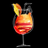 Summer cocktail hand drawn il Stock Photography