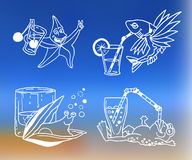Summer cocktail Icons for menu Stock Images