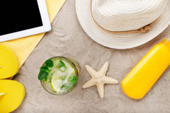 Summer cocktail with lime and mint on the beach Stock Images
