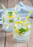 Summer cocktail from melon, mint and soda drink Royalty Free Stock Photos