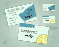 Summer cocktail party business card layout. Template with blue lagoon cocktail, lemon and cherry elements. Fresh Modern ice design for cocktail bar. Isolated on Royalty Free Stock Photo