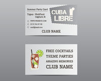 Summer cocktail party business card layout Stock Photo