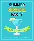 Summer cocktail party flyer. Summer cocktail party celebration flyer, on blue background, vector illustration Stock Image