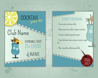 Summer cocktail party flyer layout template with stock illustration