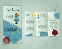 Summer cocktail party flyer layout template with. Blue lagoon cocktail and infographic elements. Fresh Modern design for cocktail bar or restaurant.  on unusual Stock Photography