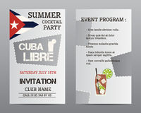 Summer cocktail party flyer layout template with Royalty Free Stock Photo