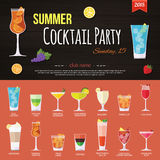 Summer cocktail party invitation and set of. Alcohol cocktails icons. Flat style design. Vector illustration Royalty Free Stock Images
