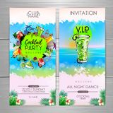 Summer Cocktail party poster design. Cocktail menu. Invitation design vector illustration
