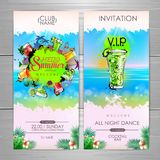 Summer Cocktail party poster design. Cocktail menu. Invitation design stock illustration