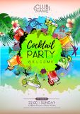 Summer Cocktail party poster design. Cocktail menu. Vector illustration stock illustration