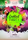 Summer Cocktail party poster design. Cocktail menu. Vector illustration royalty free illustration