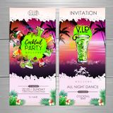Summer Cocktail party poster design. Cocktail menu. Invitation design royalty free illustration
