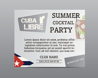 Summer cocktail party poster layout template with Royalty Free Stock Images