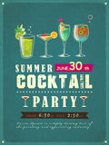 Summer cocktail party poster. Retro style summer cocktail party poster template Stock Photos