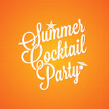 Summer cocktail party vintage lettering background Stock Photography