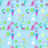 Summer cocktail pattern background. Summer seamless cocktail background. Alcohol endless pattern with fruits Stock Photos