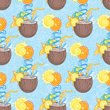 Summer cocktail pattern background. Summer seamless cocktail background. Alcohol endless pattern with fruits Stock Images