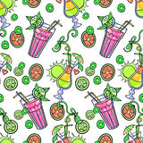 Summer cocktail pattern background Stock Images