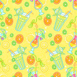 Summer cocktail pattern background. Summer seamless pattern background with cocktails. Alcohol endless tiling texture Royalty Free Stock Photography