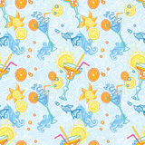 Summer cocktail pattern background. Summer seamless pattern background with martini cocktails. Alcohol endless tiling texture Stock Photo