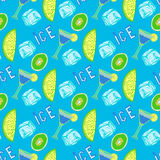Summer cocktail seamless pattern. Hand-drawn ice background. Stock Photos