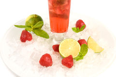 Summer cocktail - strawberry Mojito. Berry strawberry Mojito ice on white background Stock Image