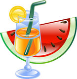 Summer cocktail and watermelon Royalty Free Stock Images