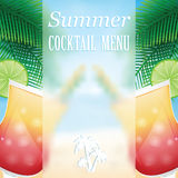 Summer cocktails on the background of the sea Stock Photography