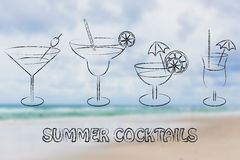 Summer cocktails and drink glasses Stock Photo