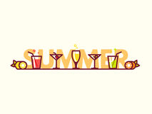 Summer cocktails flat icon illustration. Royalty Free Stock Photo
