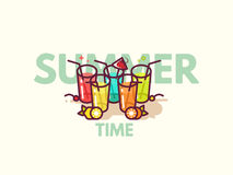 Summer cocktails flat icon illustration. Royalty Free Stock Photos