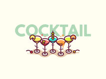 Summer cocktails flat icon illustration. Royalty Free Stock Image