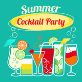 Summer cocktails party template Royalty Free Stock Image