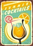 Summer cocktails retro tin sign design. stock illustration