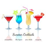 Summer cocktails set, isolated Stock Images
