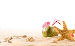 Summer coconut cocktail on the beach Royalty Free Stock Images