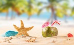 Summer coconut cocktail on the beach Stock Photos