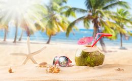 Summer coconut cocktail on the beach Stock Photography