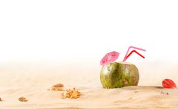 Summer coconut cocktail on the beach Royalty Free Stock Image