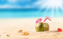 Summer coconut cocktail on the beach Stock Images