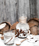 Summer coconut drink. On a wooden background, the concept of refreshing drinks Royalty Free Stock Photos