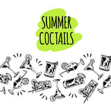 Summer coctails on white background. Background with vector cocktails on white background Stock Photography