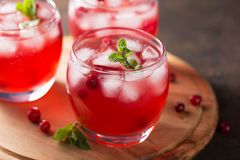Summer cold beverage with cranberry, ice cubes, mint on the wooden cutting board. Healthy berry drink in three glasses Royalty Free Stock Photography