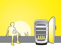 Summer cold drink. Illustration of a young sitting woman enjoying cold drink from fridge during hot summer Stock Photo