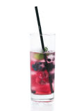 Summer cold drink with ice and berries.  Stock Photos