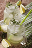Summer cold drink with lime, ice and rosemary macro in a glass j royalty free stock photography