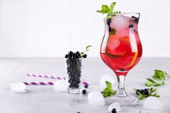 Free Summer Cold Drink With Blueberry, Mint Lemon And Ice Stock Photos - 138678893