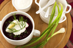 Summer cold soup with beet, cucumber and egg Royalty Free Stock Photography